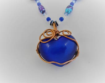 Cobalt Blue Cats Eye Puffed Heart Necklace Set, Turquoise Beads, Free Domestic Shipping, Wire Wrapped Natural Copper Wire, Pierced Earrings