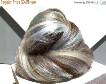 """Tour De Fleece SALE Grey, Brown fiber art batt, felting wool, spinning fiber, """"My Pet Batt"""", roving, silver grey, light blue, tan, white, gr"""