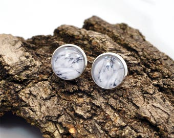 White Howlite Earrings, White Stud Earrings, Dangle Earrings, Drop Earrings, Handmade Earrings, Glass Earrings, Marble Earrings