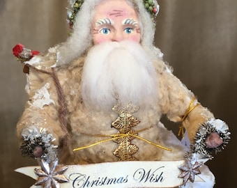 Spun Cotton Christmas Santa on Keepsake Box Chimney Victorian Inspired with Vintage Batting Handmade Folk Art Decor
