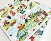 Farm Quilted Pot Holders Hot Pads Set of Two Handmade Animals