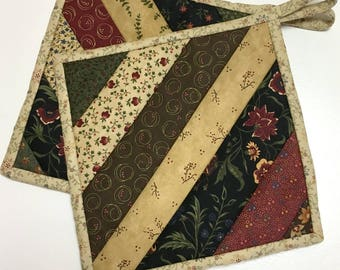 Rustic Pot holders-Hot Pads-Primitive Kitchen-Quilted (Set of Two) Handmade