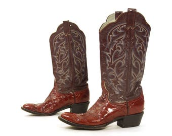 Tony Lama Cowboy Boots / Vintage Burgundy Leather and Eel Tall Pull On Western Riding Boots / Flame Stitching / Women's 10.5 / Men's 9