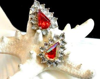 July 4th Sale Ruby Red and Clear Rhinestone Stud Earrings Vintage Red Faceted Teardrop Earrings Rhinestone Stud Earrings