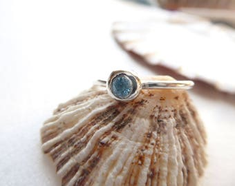 Sky blue topaz solitaire ring in sterling silver - silver stacking ring - topaz engagement ring - blue gemstone