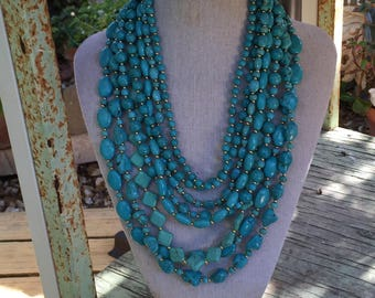 Layers and Layers Turquoise Necklace