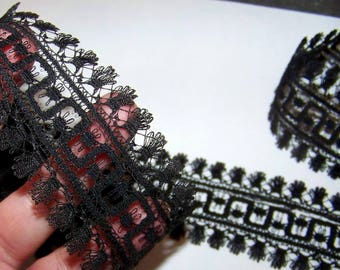 VINTAGE Victorian Black Lace Yardage Geometric Civil War