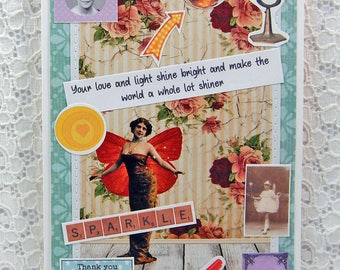 """Your Love & Light Shine Bright Card-Friendship Keepsake Card and 1"""" button- You Are The Best Card-You Make the World Shiny Card"""
