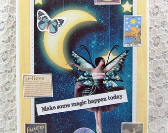 "Make Some Magic Happen Card comes w 1"" Pin Back Button-Fairy Card-Goddess Card-The Star Card-Go For Your Dreams Card-Moon Goddess Selene"