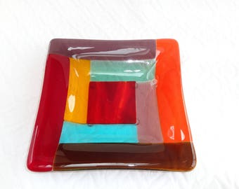 Fused Glass Rainbow Plate, Fused Glass Trinket Tray, Soap Dish, Candy Dish, Gay Pride, 5 3/4 Inch Fused Glass Dish