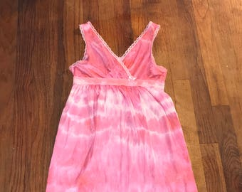 Butterfly Baby Hot Pink Hand dyed girls Vintage slip by IM.BUTTERFLYCREATIONS