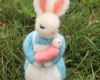 Mom and baby girl felted bunny art doll figurine baby shower gift