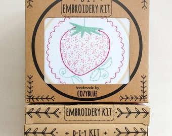 STRAWBERRY embroidery kit - embroidery hoop art, DIY stitching kit, vintage strawberry, retro inspired, kitschy kitchen, fresh strawberry