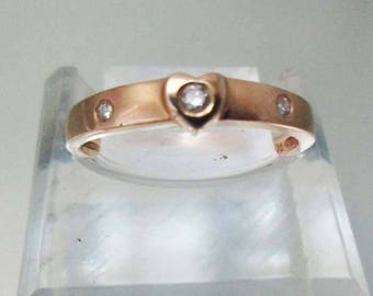 14k Gold Heart 3 Diamond Ring