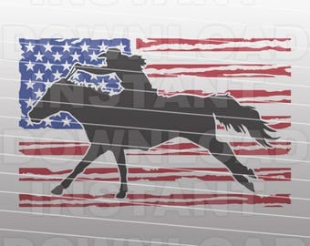 Distressed USA Flag Barrel Racing SVG File,Barrel Racer SVG,Rodeo svg file -Commercial & Personal Use- Cricut,Silhouette Cameo,Iron on Vinyl