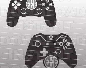 Video Game Controllers Monogram SVG File Cutting Template-XBox Playstation Vector Clip Art for Commercial & Personal Use-Cricut,Cameo,Decal