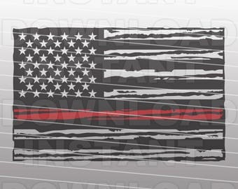 Firefighter American Flag SVG - Thin Red Line SVG File -Commercial & Personal Use- svg file for Cricut,svg file for Silhouette,vinyl cutting