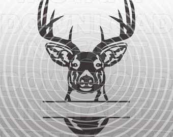 Buck Head Deer Hunting Monogram Split SVG File Cutting Template-Silhouette Clip Art for Commercial & Personal Use-Cricut,SCAL,Cameo,Vinyl