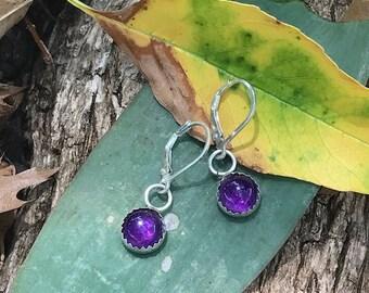 Sterling Silver Royal Purple Amethyst Bezel Leverback Dangle Earring