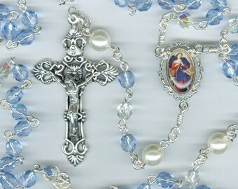 Light Sapphire & Pearl Special Intention Rosary ~ Our Lady Undoer (Untier) of Knots