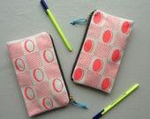 Checkerboard screenprinted fabric pencil case