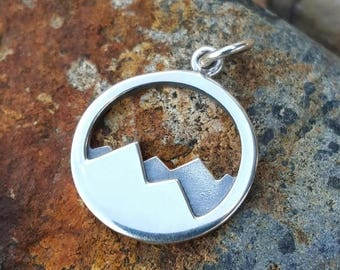 ON SALE TODAY Mountain Range Sterling Silver Charm - Mountains Necklace