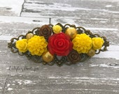Floral Filigree French Barrette ~ Princess Flower Crown Tiara ~ Belle ~ Beauty and the Beast ~ Antique Bronze ~ Yellow Gold Red Rose