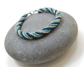 Elite Waters/Herringbone Bracelet/Beaded Bracelet/Bangle/Handmade Jewelry/Gift for Her/Accessory