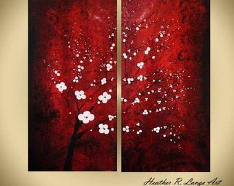 ORIGINAL Modern Abstract Japanese Landscape Inspired Two Piece Canvas Wall Art Painting Red Black White Decor MADE to ORDER