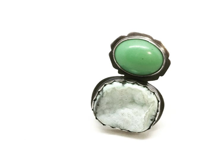 Featured listing image: Green druzy ring druzy ring big ring large ring giant ring statement ring green ring