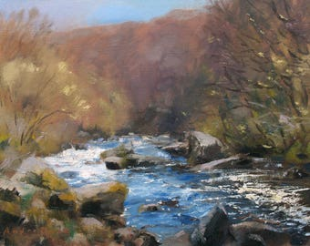 Dart River in Spring, Dartmoor, landscape oil painting, direct from artist