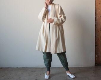 cream wool swing coat / oversized overcoat / minimalist wrap coat / s / m / 2243o / R4