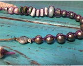 Adjustable Freshwater Pearl, Amazonite, Amethyst, Shell, Turquoise and Sterling Silver Hemp Choker
