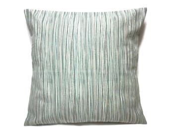 Decorative Pillow Cover Subtle Stripe Teal Taupe Cream Same Fabric Front/Back Toss Throw Accent 18x18 inch x