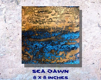 "Art Painting Copper Art Abstract Patina Painting ""Sea Dawn"" 8 x 8"" Metal Wall Art"