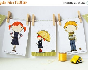 SALE Set of Postcards - Clara and Colin - Three Cards (Blank)