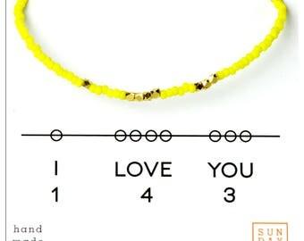 I Love You 143 Friendship Bracelet - Yellow