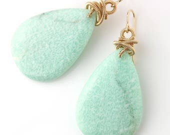 Amazonite Dangle Earrings with Gold Fill Coils