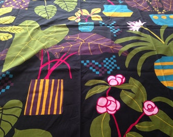 Marimekko Bold Plants & Flower Print  IKKUNAPRINSSI Fabric 2011 Finland Erja Hirvi Out of Print Scandinavian Isola