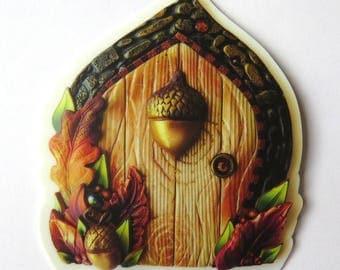 Acorn Fairy Door Vinyl Sticker Original Artwork
