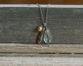 SALE - Aquamarine Pearl Silver dangle necklace