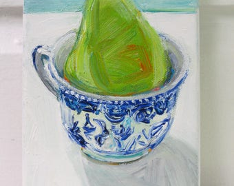 Tuesday Pear original acrylic still life painting by Polly Jones