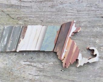Massachusetts Art, Wooden State Decor, Boston Wall Art, New England Decor, Wood State Outline, Reclaimed Wood Wall Art, Fixer Upper Decor
