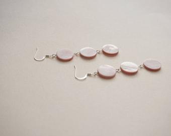 Statement Earrings Pink Jewelry Pink Earrings Mother of Pearl Earrings Peal Earrings Pearl Jewelry Bridesmaid Gift Bridesmaid Jewelry Gift