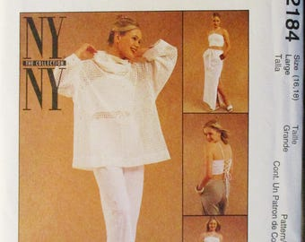 Misses Sewing Pattern McCalls 2184 Misses Top, Halter Top, Pants & Skirt Pattern Size Large 16, 18 Uncut