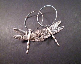 Dragonfly Earrings, Oxidized Silver Dangle Hoop Earrings, FREE Shipping U.S.