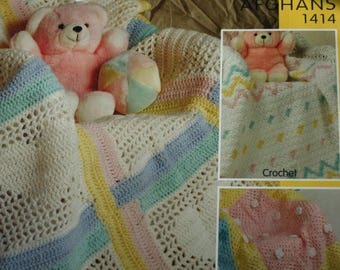 Baby Afghan Crochet Patterns Knitting Pattern Blanket Bernat 1414 DK and Worsted Weight Yarn Paper Original NOT a PDF