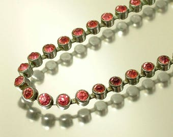 Vintage antique Edwardian/ Art Deco 1930s chrome plated and pink diamante / paste diamante costume necklace - jewelry jewellery
