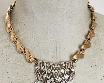 Holiday Sparkle necklace, Vintage Assemblage necklace