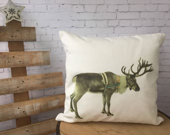Reindeer Ranch Christmas throw pillow cover/farmhouse decor/ cabin christmas/ two sided design